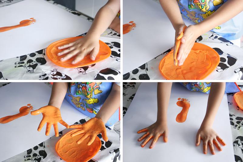 Manualidad Decorar en familia_ Lámina cangrejo pintada con pies y manos4