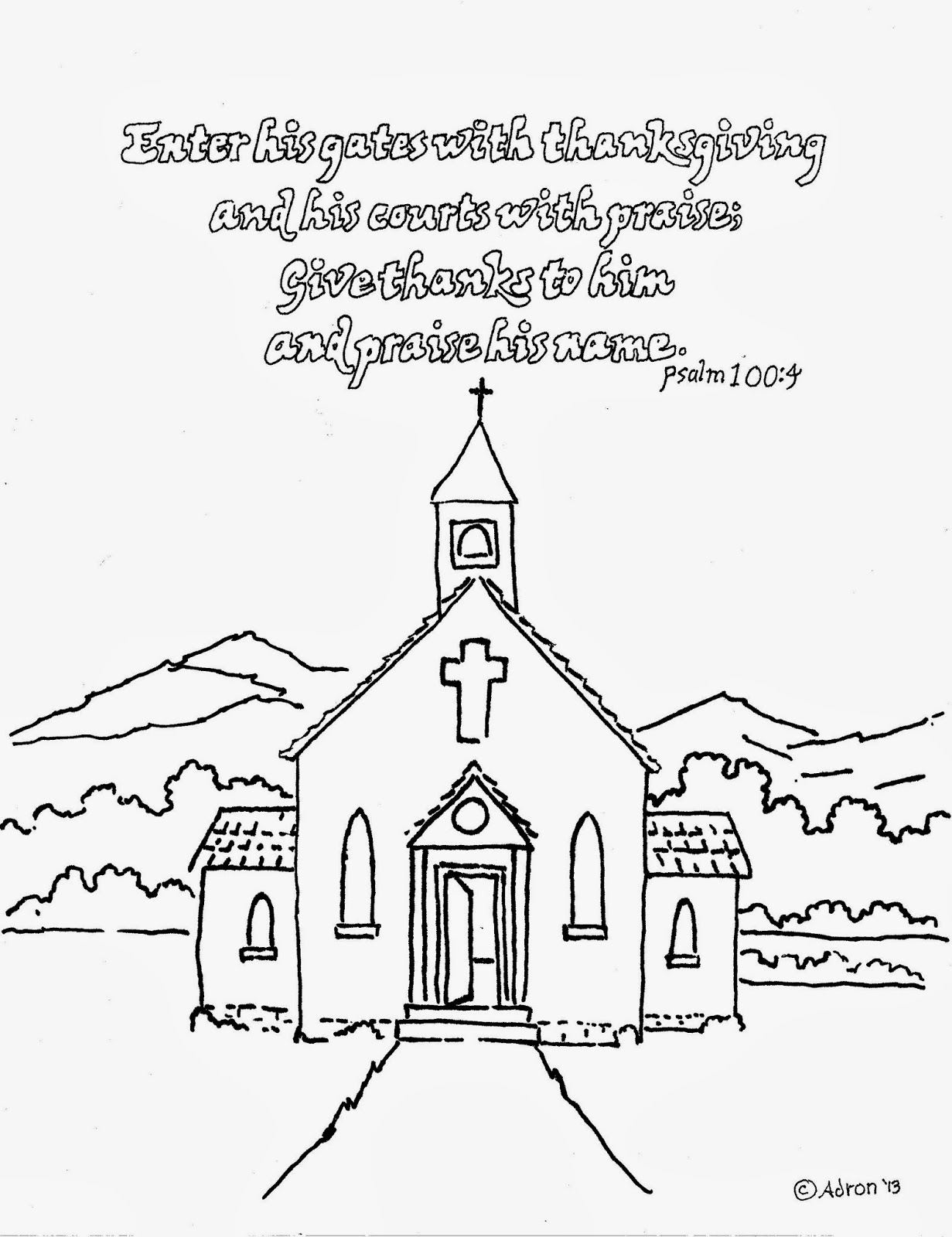 Coloring pages for kids by mr adron enter his gates with for Thanksgiving coloring pages for children s church