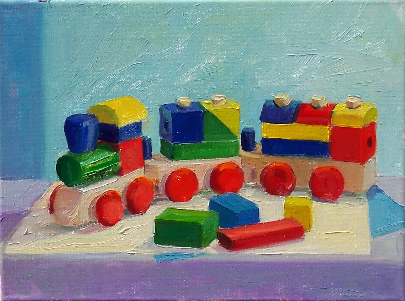 Toys For Painting : Art every day toy block train still life oil on canvas