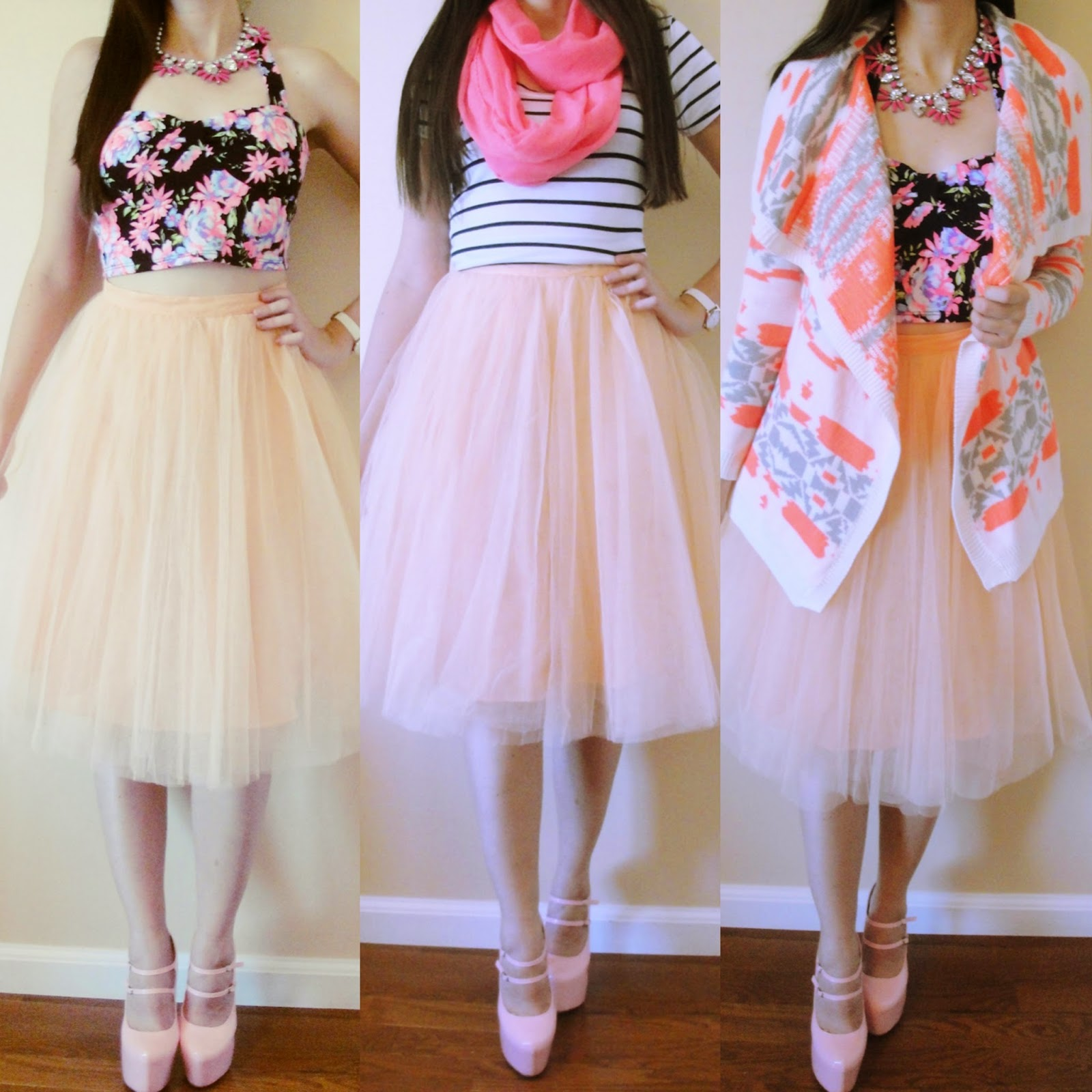 tulle skirt, 3 ways to wear a tulle skirt, three ways to wear a tulle skirt, the girl that loves, charlotte russe, amiclubwear, pumps, floral print, aztec cardigan, floral crop top, striped top, pink scarf, statement necklaces, tulle skirts to wear in summer, fall and winter,