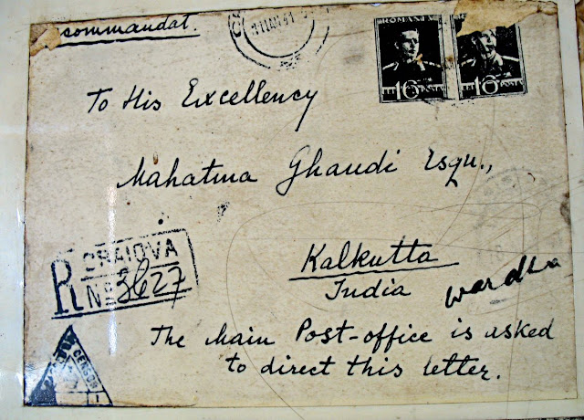 postcard written to Mahatma Gandhi