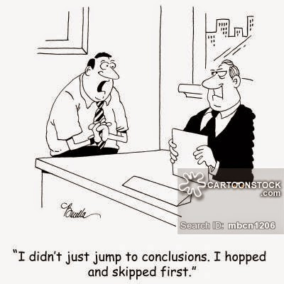 Cartoon on getting into conclusions