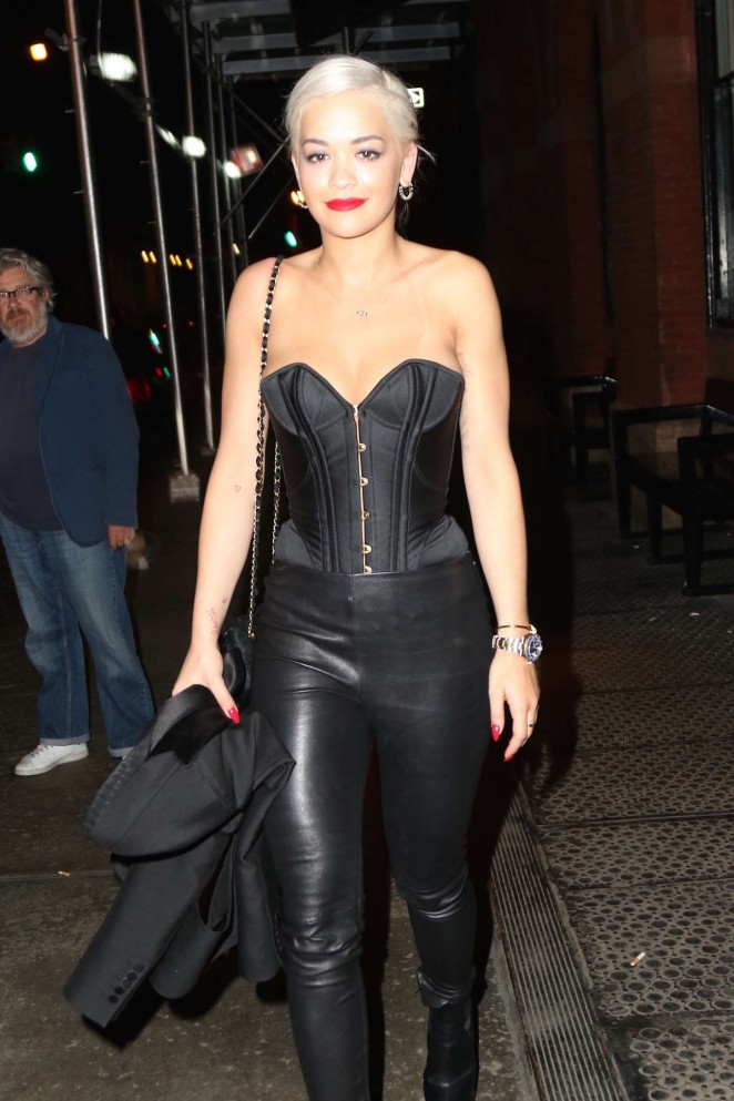 Rita Ora in a satin corset and leather pants in NYC
