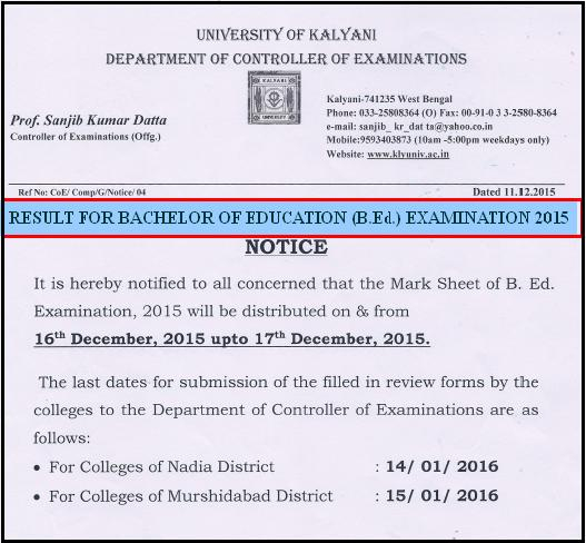Kalyani University B.Ed Examination Result 2015 Published