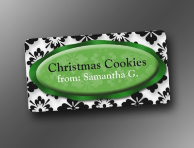 Elegant Damask Green Christmas Cookies Labels