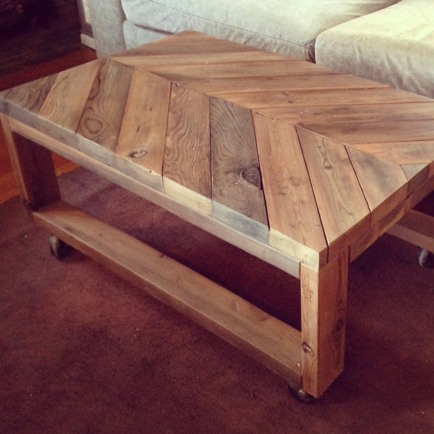 Simplycozyrestoration chic chevron coffee table from scratch for How to build a wooden table from scratch