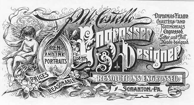 engrossers created decorative lettering used on resolutions certificates testimonials memorials and manifestos the example above is by patrick w