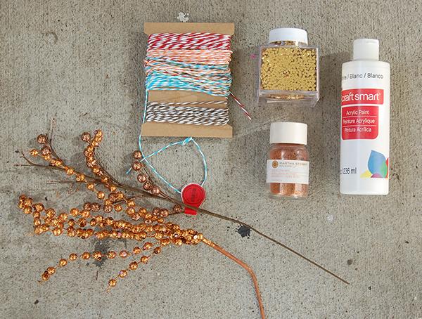 copper picks, multi color string, gold glitter, copper glitter, white paint