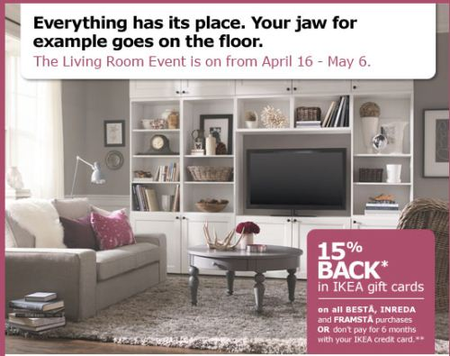 canadian daily deals ikea living room event get 15 back