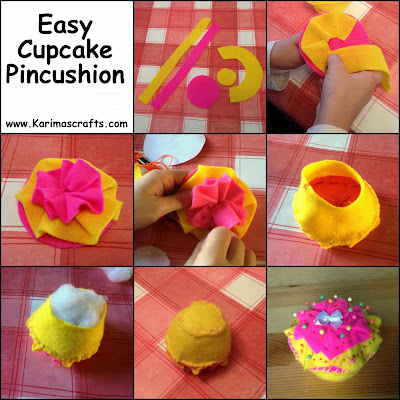easy felt cupcake pincushion tutorial muslim blog