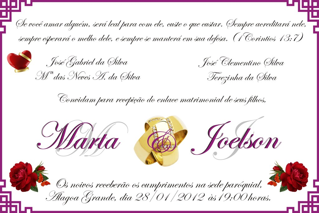 Convites De Casamento Civil Simples Moda Adulto