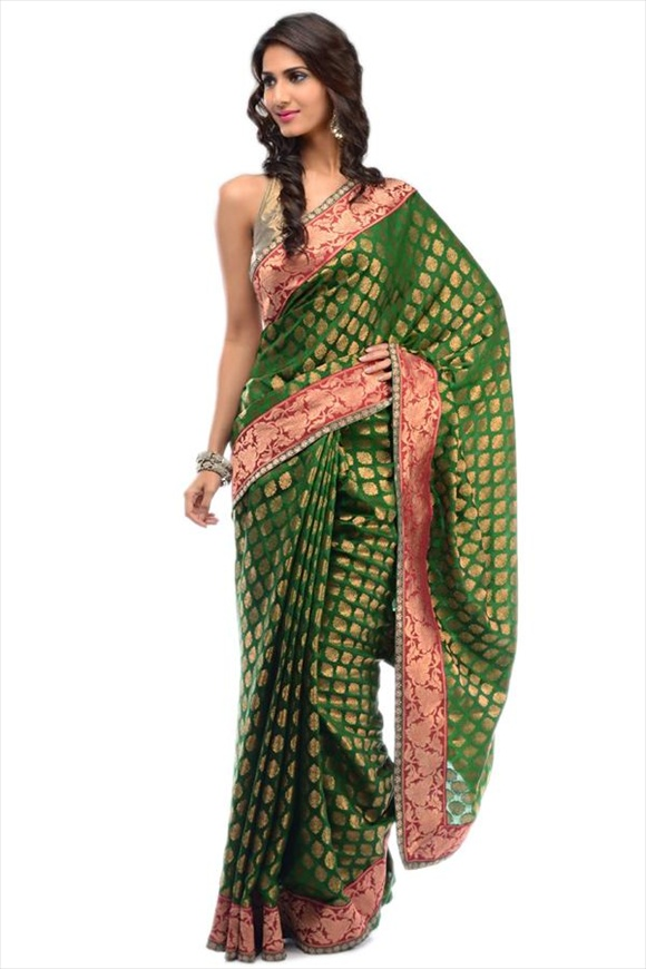 Kelly Green Dupion Banarasi Saree
