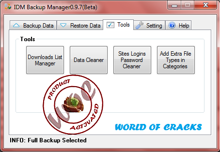 Internet Download Manager IDM Backup Manager 0.9.7 Beta4