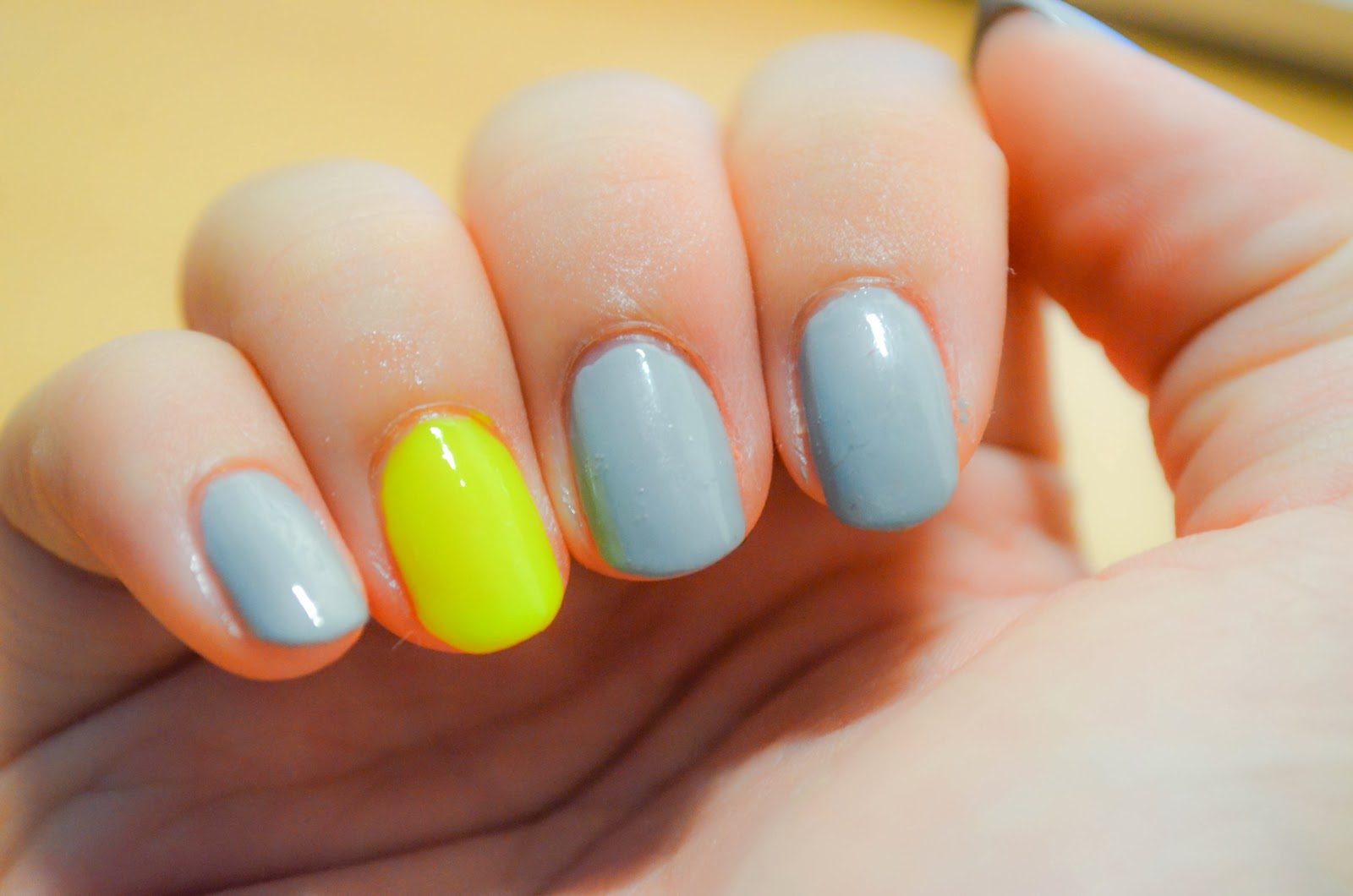 yellow highlighter grey nail polish