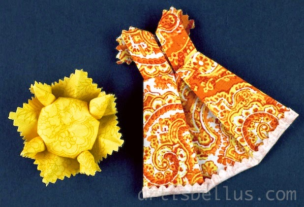Experimenting with Fabric Folding: Crane, Sunflower, and Party Dress