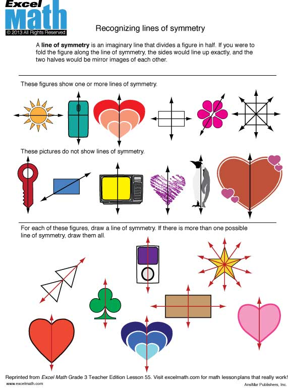 Excel Math Valentine Symmetry – Symmetry Math Worksheets
