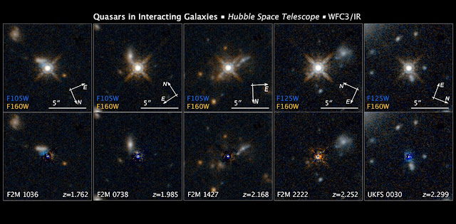 [Top Row] This is a selection of photos from a Hubble Space Telescope survey of 11 ultra-bright quasars that existed at the peak of the universe's star-formation era, which was 12 billion years ago. The quasars (powered by supermassive black holes) are so compact and bright they make a diffraction-spike pattern in the telescope's optics — an optical artifact typically only produced by bright nearby stars. Despite their brightness, the quasars are actually dimmed by dusty gas around them. The infrared capability of Hubble's Wide Field Camera 3 was able to probe deeply into the material around the quasars.  [Bottom Row]  When the glare of the quasar is subtracted, researchers see evidence for collisions between galaxies. The collisions and mergers gave birth to the quasars by fueling the supermassive black hole at the core of the galaxies. The new images capture the dust-clearing transitional phase in the merger-driven quasar birth. These observations show that the brightest quasars in the universe live in merging galaxies. Credit: NASA, ESA, and E. Glikman (Middlebury College, Vermont)