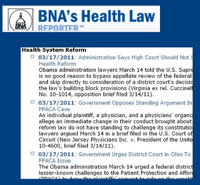 screen shot from BNA Health Law Reporter