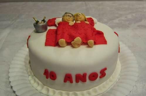 Topo de bolo das bodas de rubi