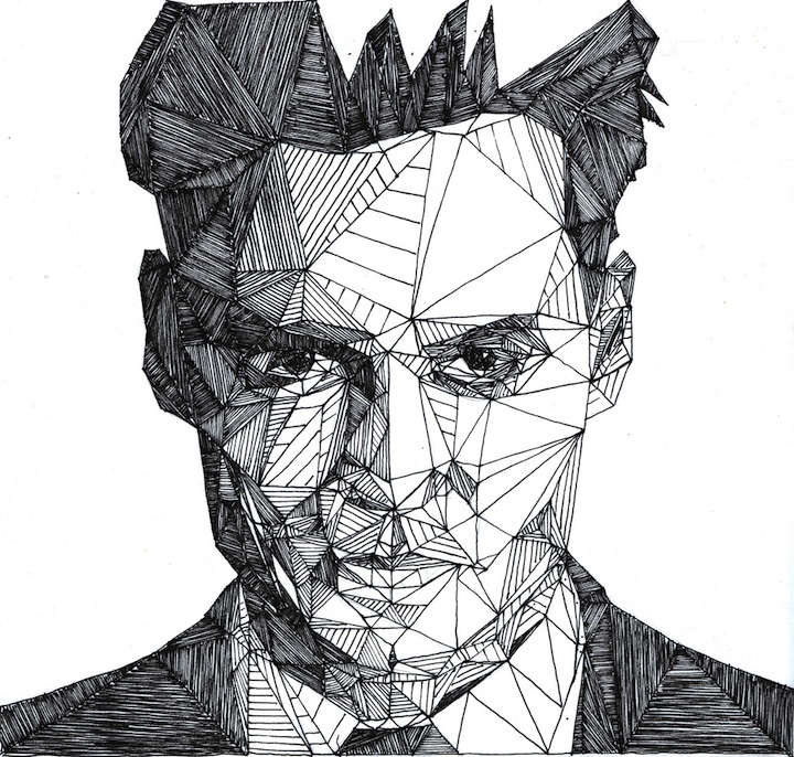 Geometric Line Drawing Artists : Let s stay geometric triangle face artwork by josh bryan