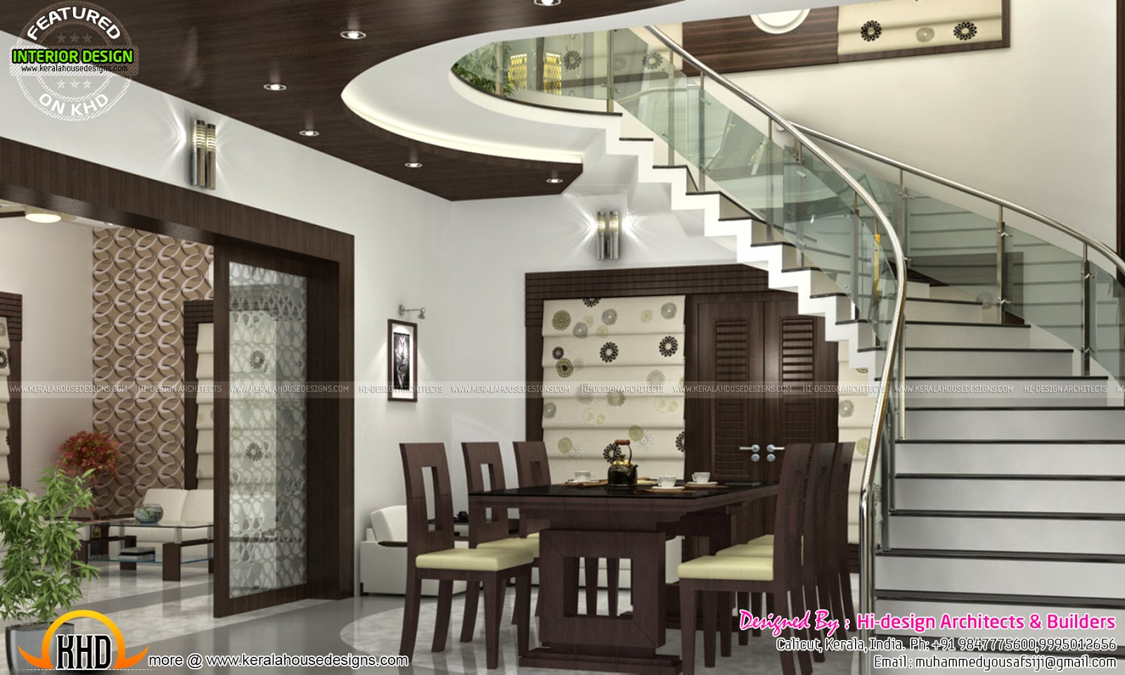 Sitting bedroom and dining interiors kerala home design House model interior design