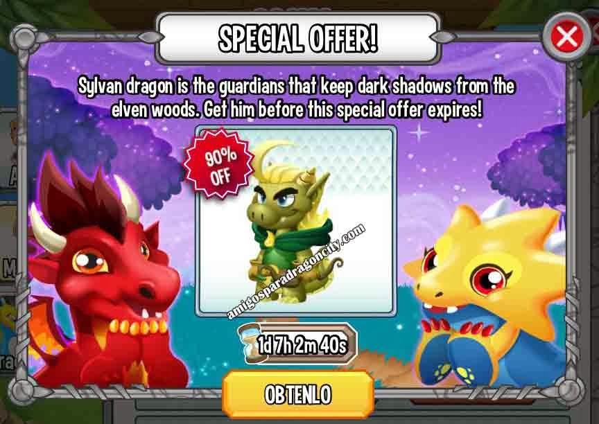 imagen de la oferta del sylvan dragon de dragon city ios