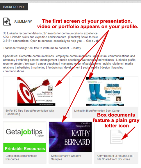 displaying work samples on LinkedIn, show work samples on LinkedIn,