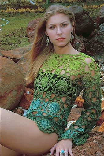 Crochetemoda: Crochet - Blusa Verde