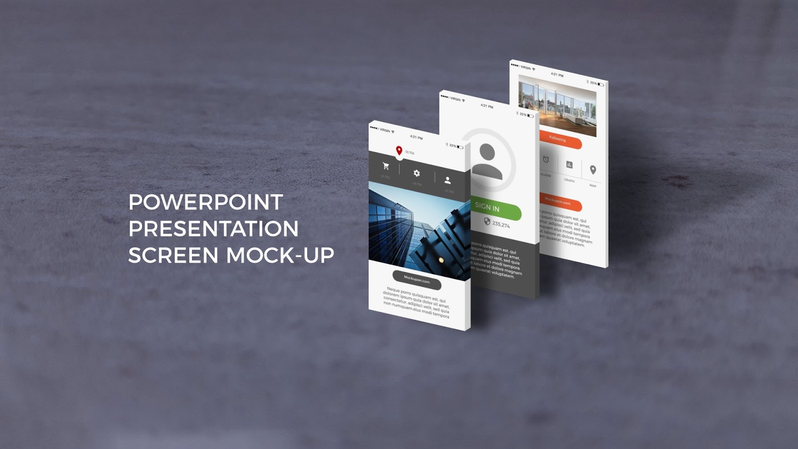 free powerpoint template with app screen mock ups infographicon. Black Bedroom Furniture Sets. Home Design Ideas