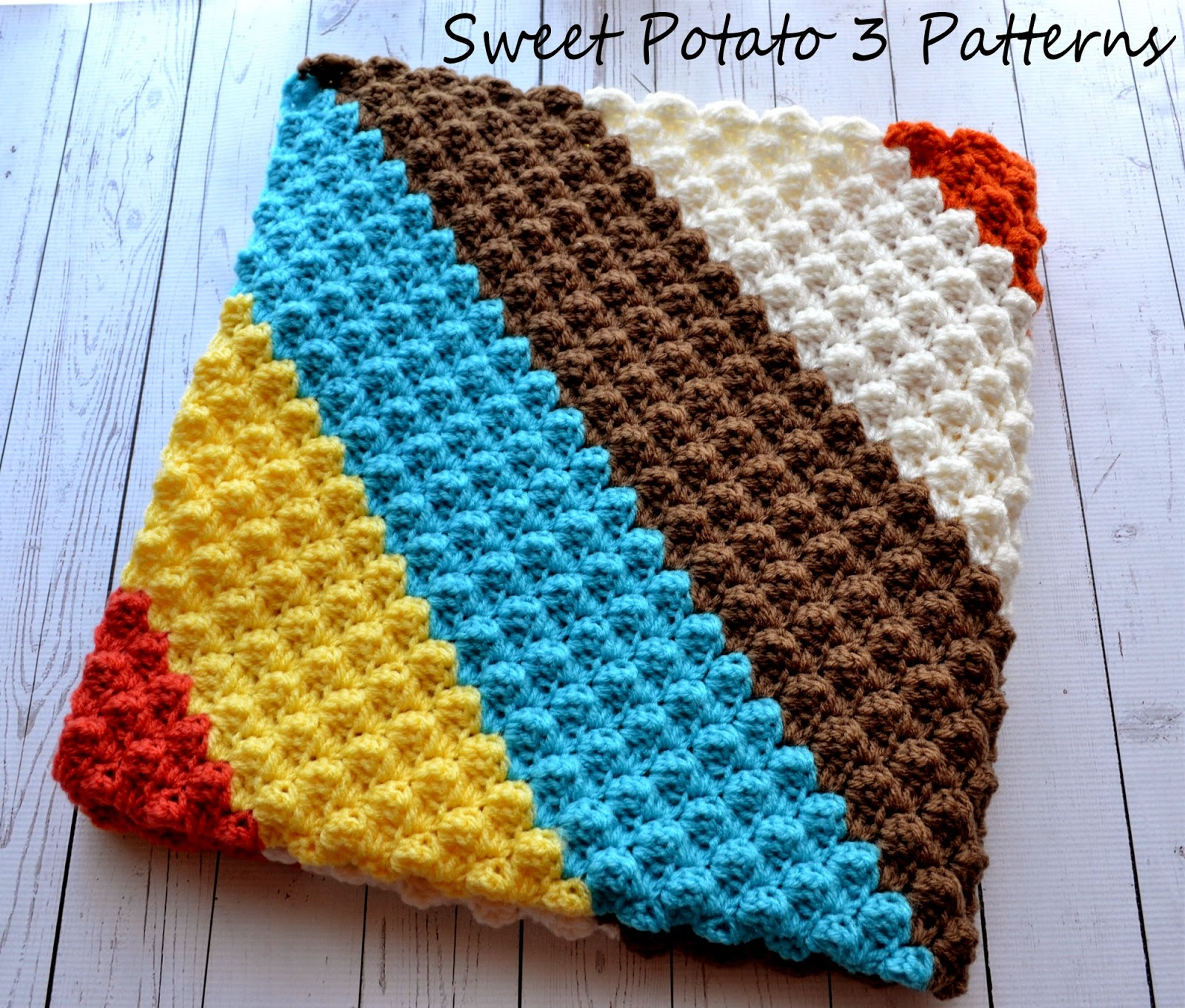 Diagonal Delights Baby Blanket Pattern Release - Sweet Potato 3