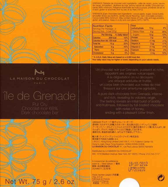 tablette de chocolat noir dégustation la maison du chocolat ile de grenade noir 68