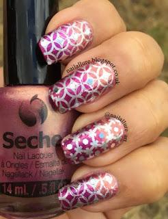 Seche IBD BP-L004 Silver Stamping & Hex Glitter Manicure