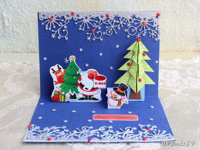 Cards crafts kids projects pop up christmas tree card for Pop up card craft