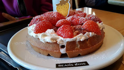 Strawberry Cream Waffles from Beans Bins