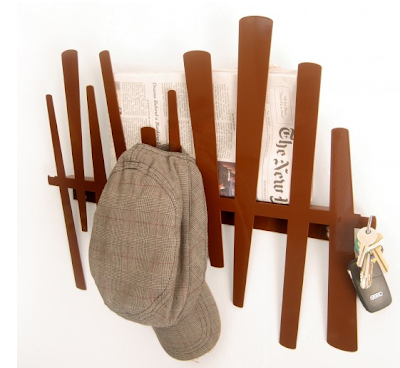 wall rack, looks like slatted fence, to hold coats, mail, keys, etc.