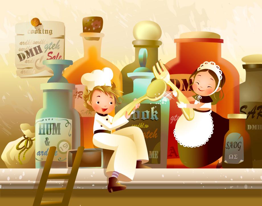 台所で料理を楽しむ子供 Children enjoy cooking in the kitchen イラスト素材