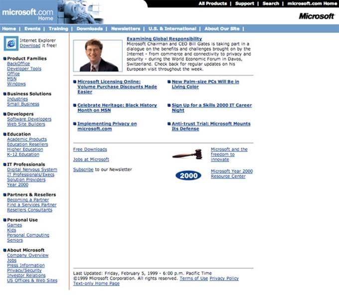 microsoft website 1999