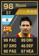 Lionel Messi (IF3) 98 - FIFA 12 Ultimate Team Card