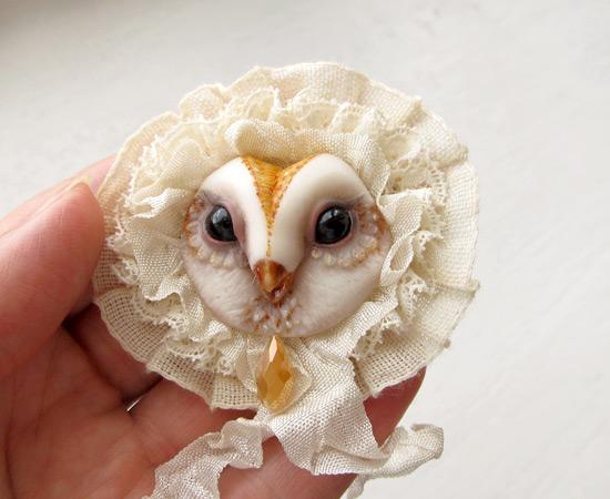 брошка-сова, owl brooch