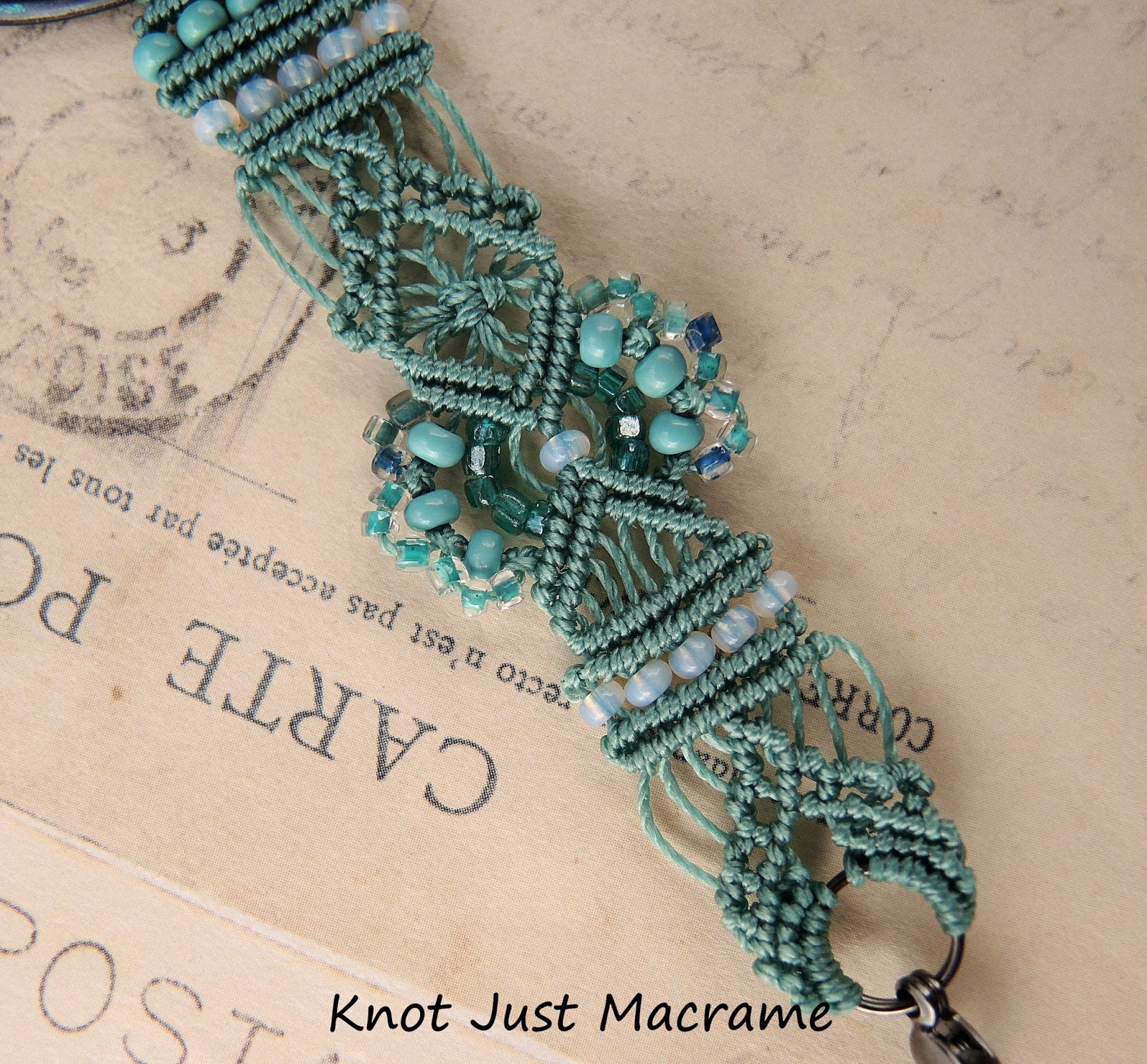 Hand tied micro macrame with antique seed beads