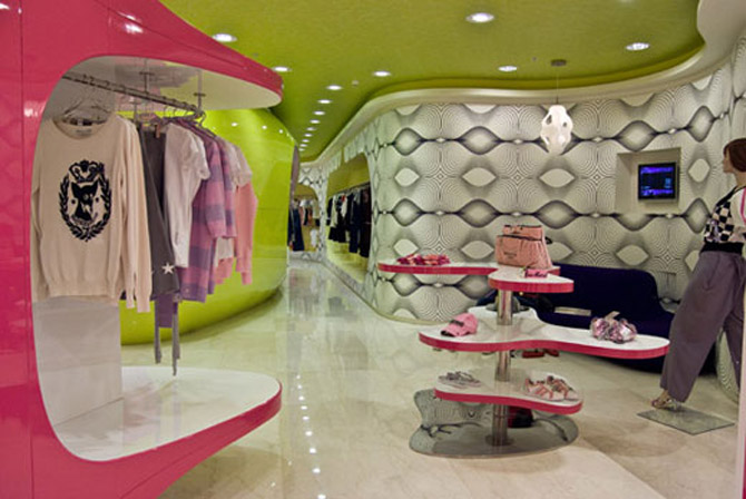 Modern fashion store interior decorating colorful stylish for Modern home decor boutiques