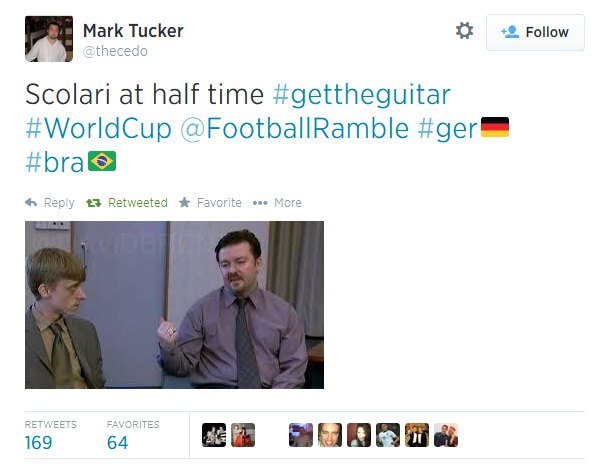 Germany, Brazil, Twitter, 7-1, World Cup 2014, memes, David Brent, Get the guitar,