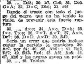 Recorte de prensa donde Vallés comenta una parte de la partida Alekhine - Valles del IV Torneo Internacional de Ajedrez de Sabadell 1945