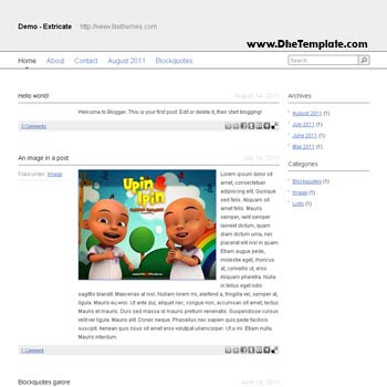 Extricate Blogger Template convert from wordpress theme to blogger. minimalist design blogspot template