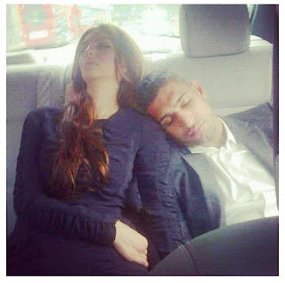 Boxer Amir Khan and Faryal Makhdoom sleeping in car