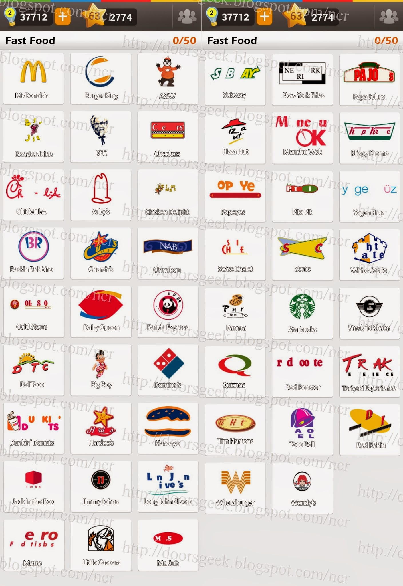 Fast Food Logo Game Answers