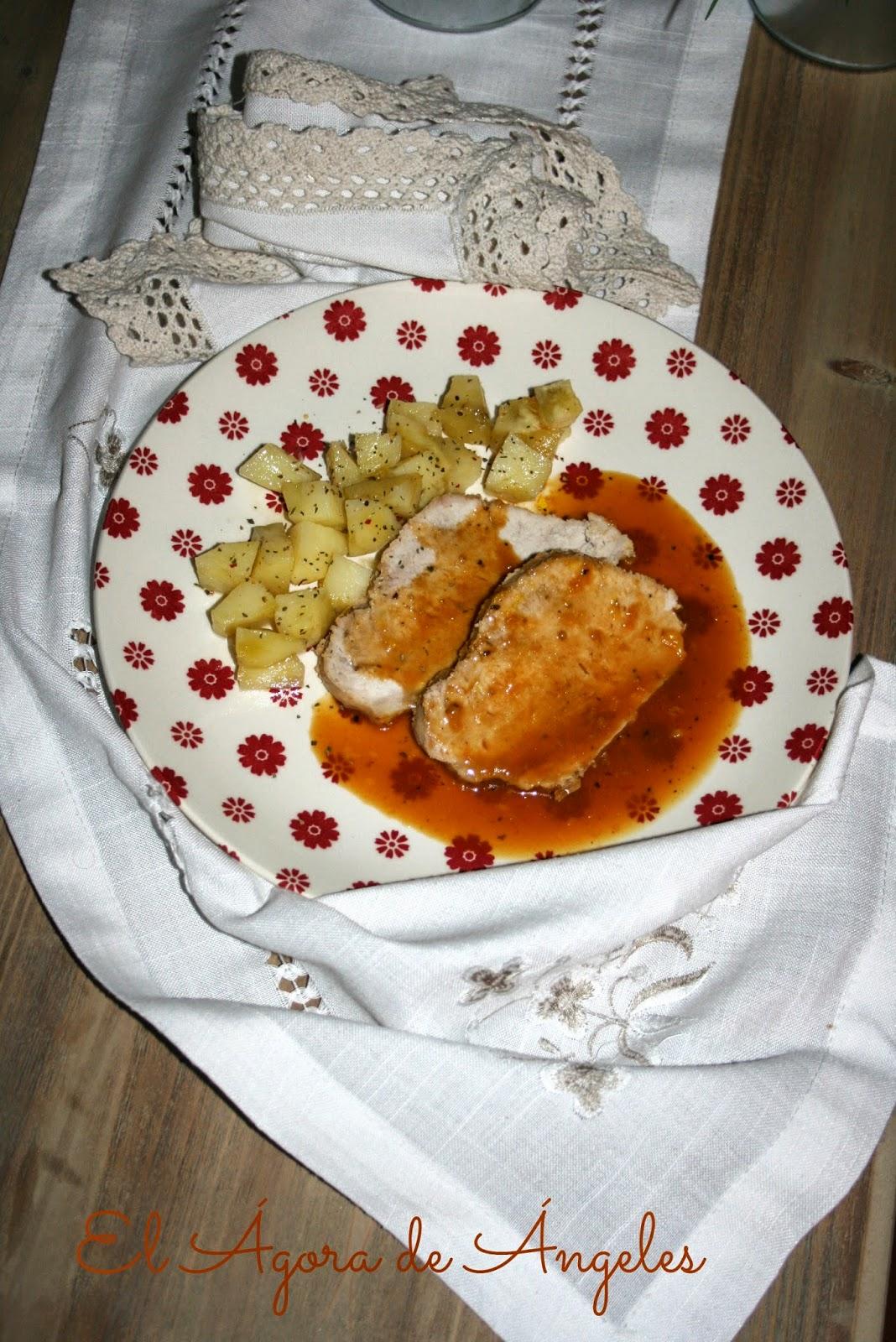 lomo de cerdo asado, naranja, mostaza, miel