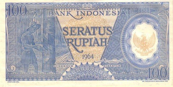 Rp100 tahun 1964 Biru