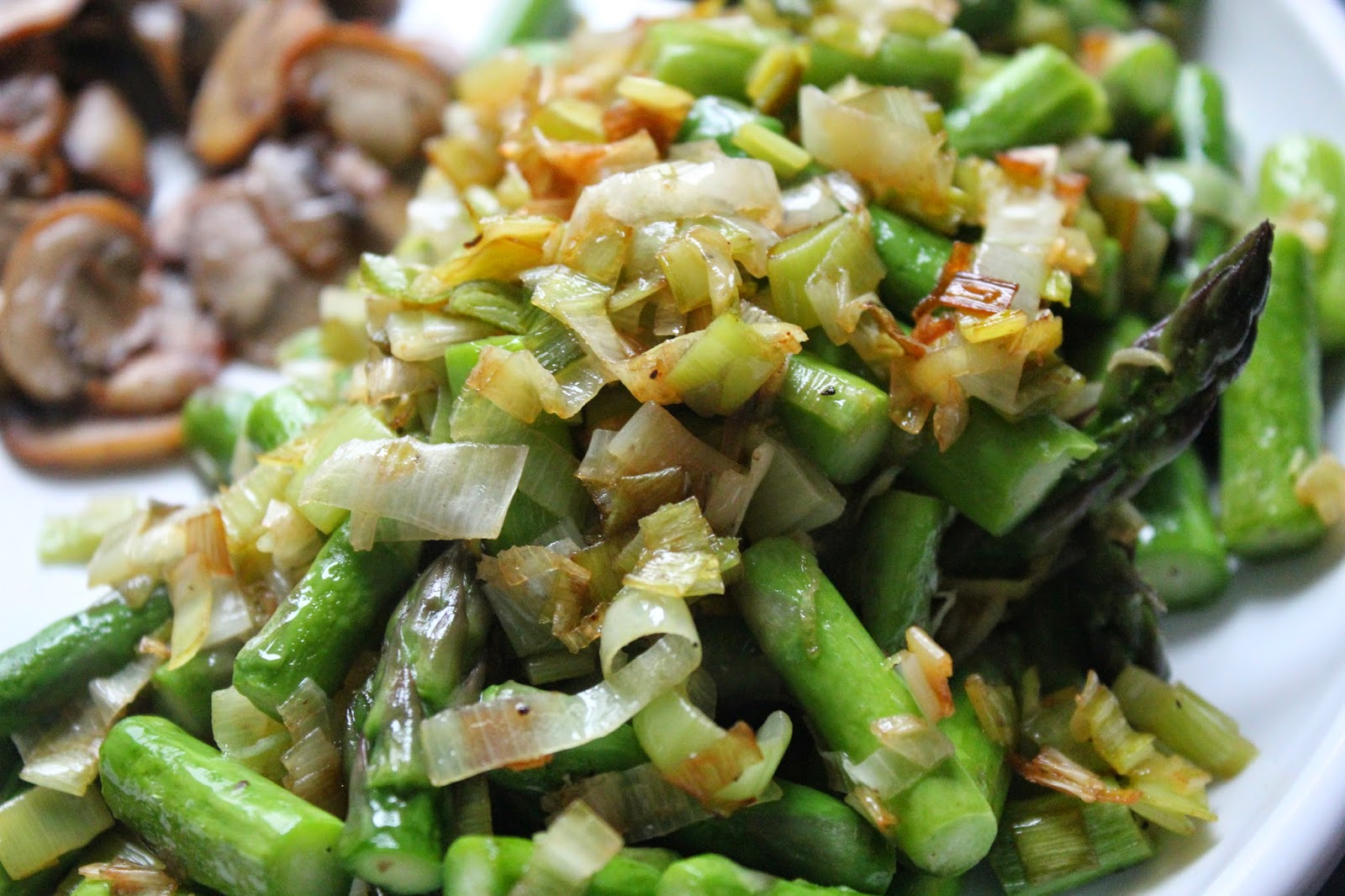 Sauteed leeks and asparagus