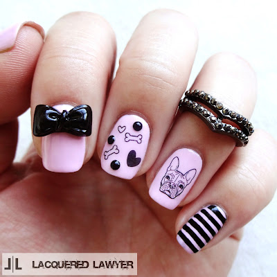 French Bulldog Nail Art